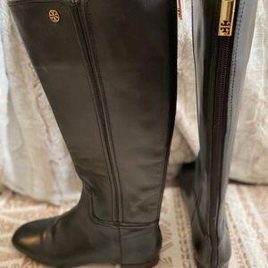 Tori Burch tall black leather boots